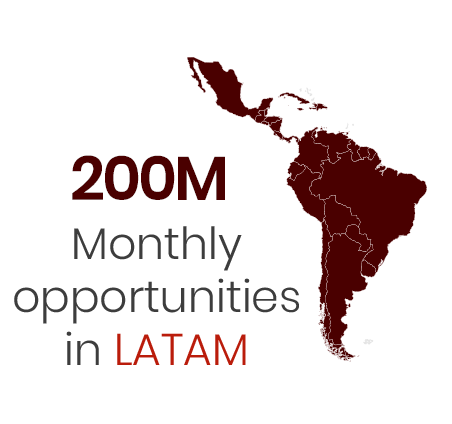 200 monthly opportunities in LATAM