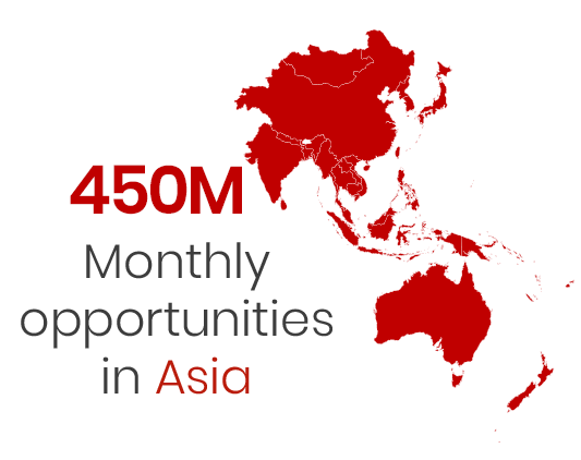 450 monthly opportunities in Asia